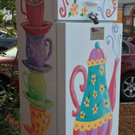 Outside the Box Project, Mrs. Felton's Tea Party electric box, Main St., Peabody, MA