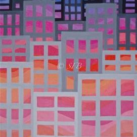 "City Sunset, acrylic, 14"" x 18"""