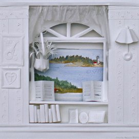 """Sea Breeze, mixed media, 14"""" x 14"""" (paper sculpture with watercolor view of Ten Pound Island, Gloucester, MA)"""
