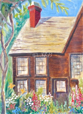 "Gables July Garden, oil, 11"" x 14"" (The House of the Seven Gables, Salem, MA)"