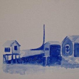 "Blue Willows, watercolor, 5"" x 7"" (Salem Willows, Salem, MA)"
