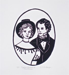 "Salem Sweethearts, original screen print -- 5 pulled, 11"" x 14"" (Sophia Peabody & Nathaniel Hawthorne)"
