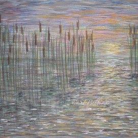"Sunset Marsh, pastel, 18"" x 24"""