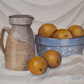 "Oranges in Blue Bowl, watercolor, 16"" x 20"""