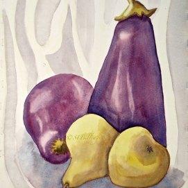 "Eggplant & pears, watercolor, 16"" x 20"""