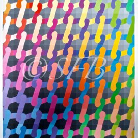 "Crochet Rainbow, acrylic, 22"" x 28"""