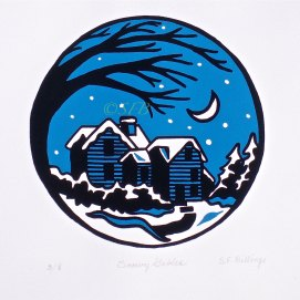 """Snowy Gables, original screen print -- 8 pulled, 11"""" x 14"""" (The House of the Seven Gables, Salem, MA)"""