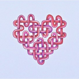 """Pink Celtic Heart, ink & pencil, 5"""" x 7"""""""