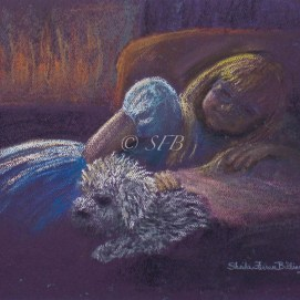 "Fireside Friends, pastel, 9"" x 12"""