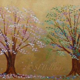 """Four Seasons, acrylic, 12"""" x 36"""""""