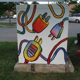 ArtBox Project to beautify utility boxes in Salem, MA. This box is at Riley Plaza rotary.