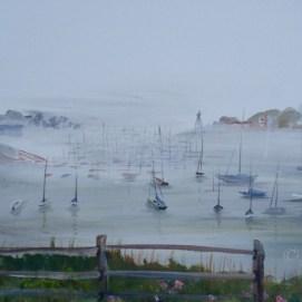 "Misty Morning, acrylic, 12"" x 24"" (Marblehead Harbor, MA)"