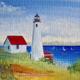 "Baker's Island Light, acrylic, 8"" x 10"" (Baker's Island, Salem Harbor, Salem, MA)"