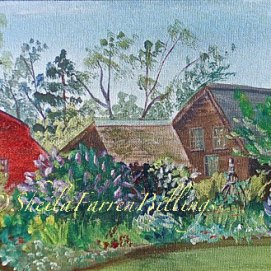 """Salem Panorama, acrylic, 6"""" x 12"""" (Grounds of The House of the Seven Gables, Salem, MA)"""
