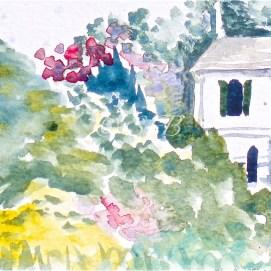 "Glen Magna Tea House, watercolor, 4"" x 6"" (Glen Magna Estate, Danvers, MA)"