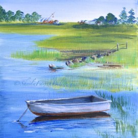 "Peaceful Cove, acrylic, 11"" x 14"" (Salem Willows, Salem, MA)"