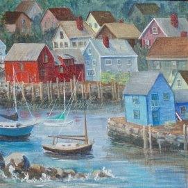 "Rockport Harbor, acrylic, 18"" x 24"" (Rockport, MA)"