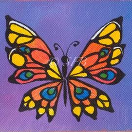 "Butterfly, acrylic, 6"" x 6"""