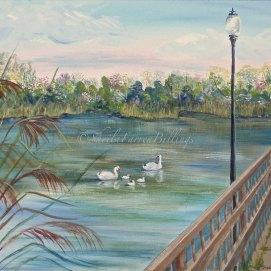 """Swan Family, acrylic, 16"""" x 20"""" (Lynn, MA)"""