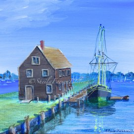 "The Friendship, acrylic, 8"" x 10"" (Pickering Wharf, Salem, MA)"