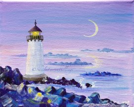 "Winter Island Twilight, acrylic, 5"" x 7"" (Winter Island Lighthouse, Salem, MA)"