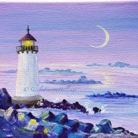 "Winter Island Twilight, acrylic, 5"" x 7"" (Winter Island Lighthouse, Salem, MA)"