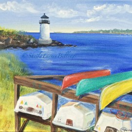 "Winter Island Kayaks, acrylic, 16"" x 20"" (Winter Island Light, Winter Island, Salem, MA)"
