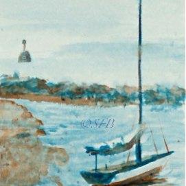 "Safe Home, watercolor, 5"" x 7"", (Salem Willows, Salem, MA)"
