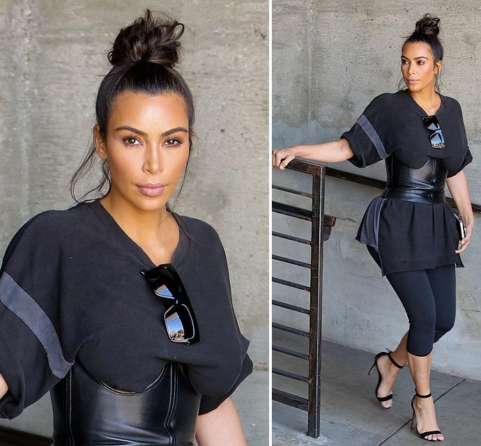 kim-kardashian-corset-belt-waist-training-life-of-pablo-shirt-072016