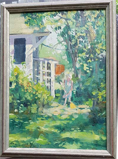 painting of an elderly woman sweeping outside