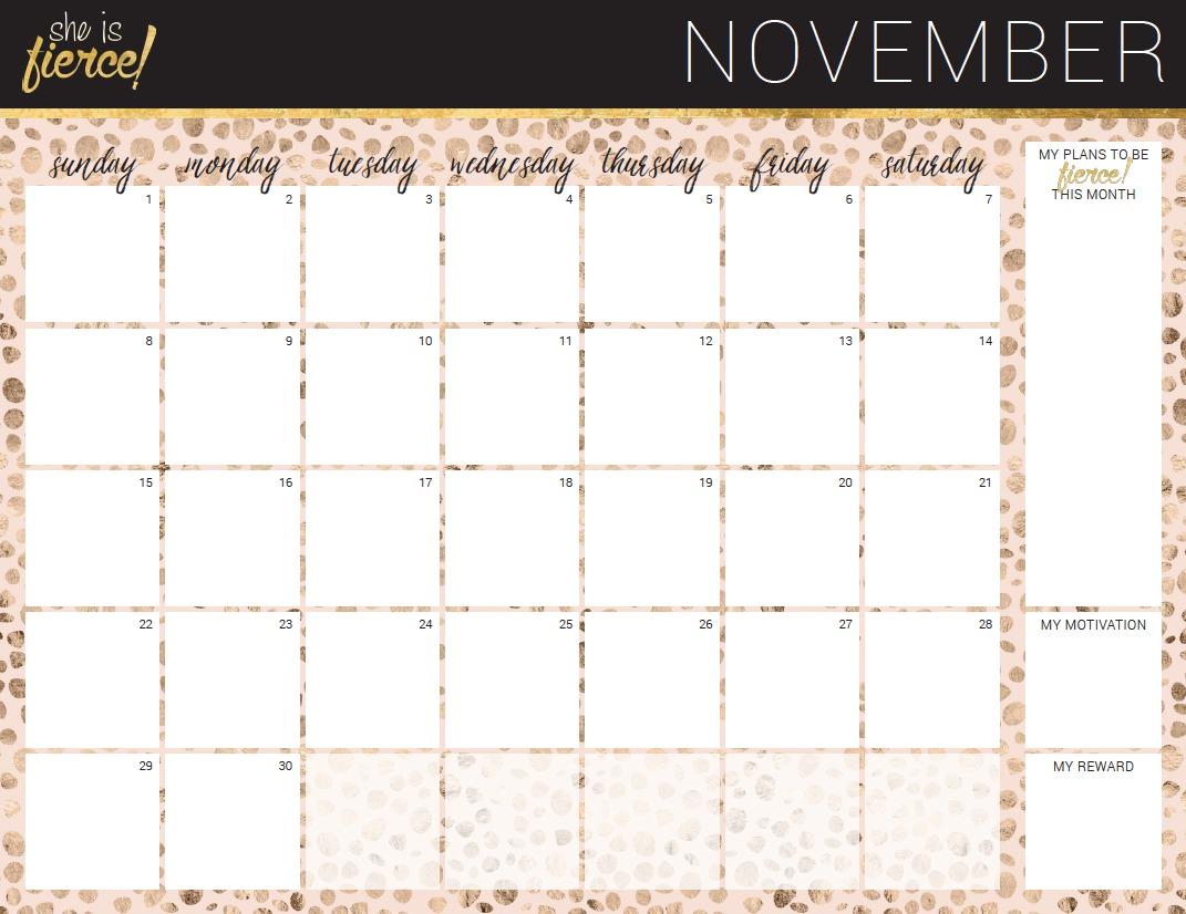 November Goal Setting Calendar