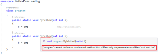 Ref and out in method overloading