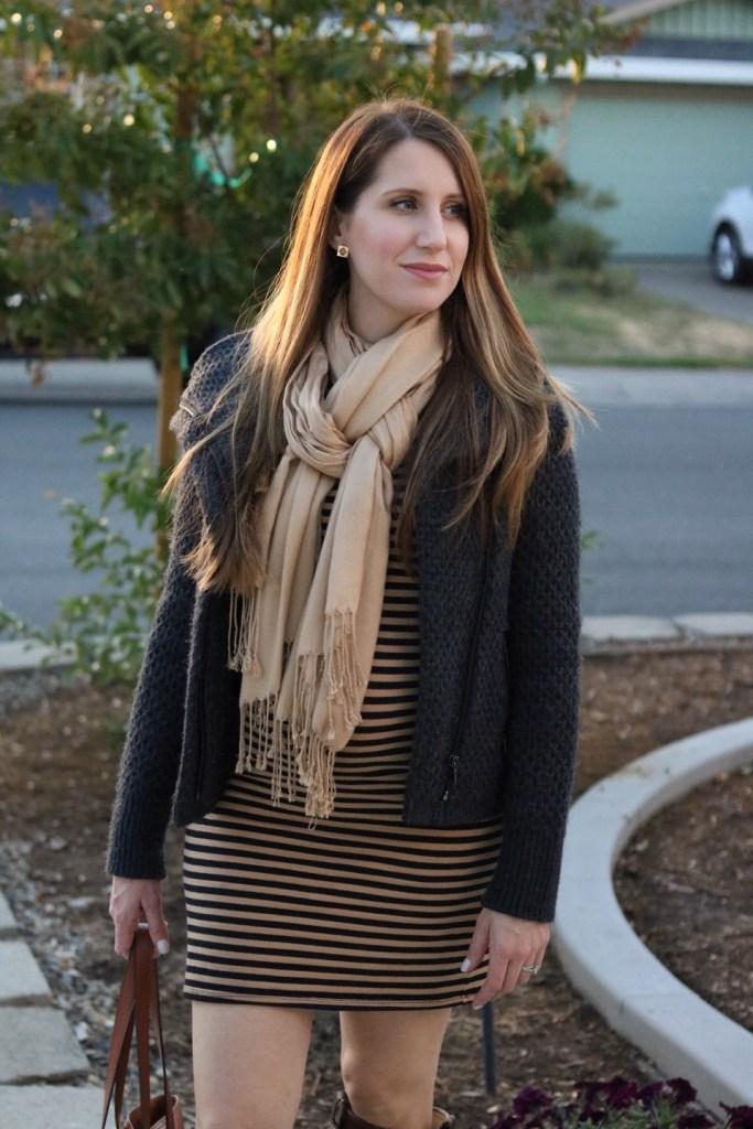 Black and Tan striped dress fall