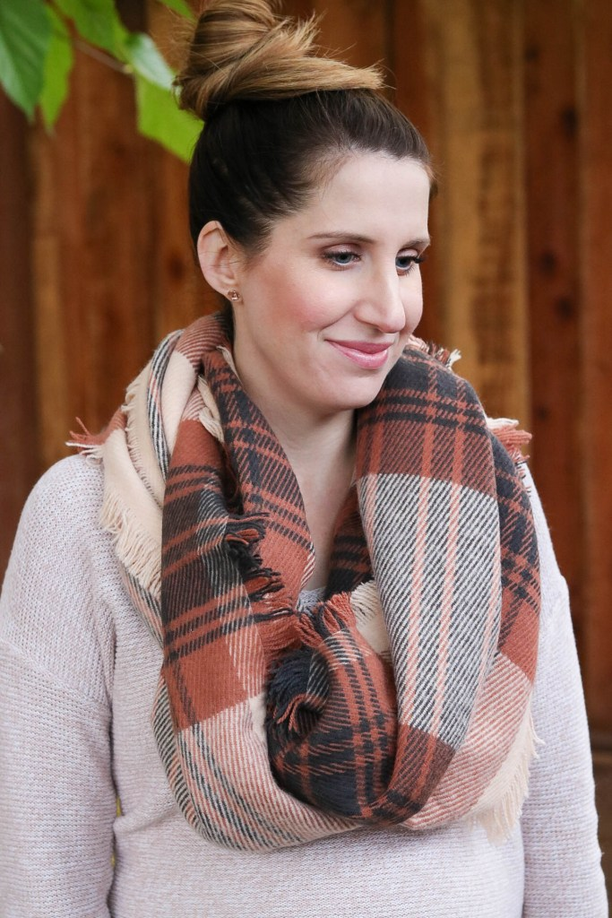 pink sweater plaid scarf