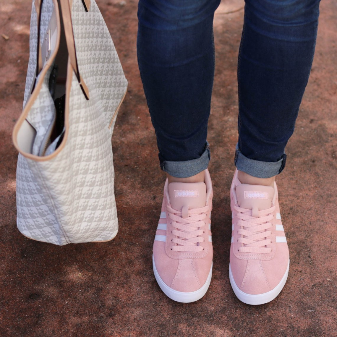 blush pink sneakers, casual spring style