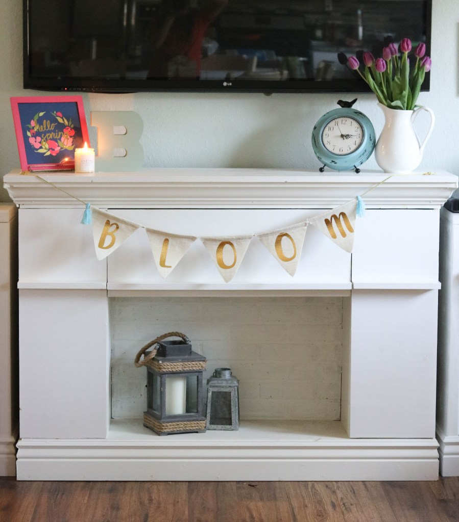 spring decor faux fireplace