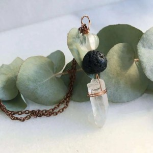 Quartz crystal essential oil diffuser necklace on copper chain