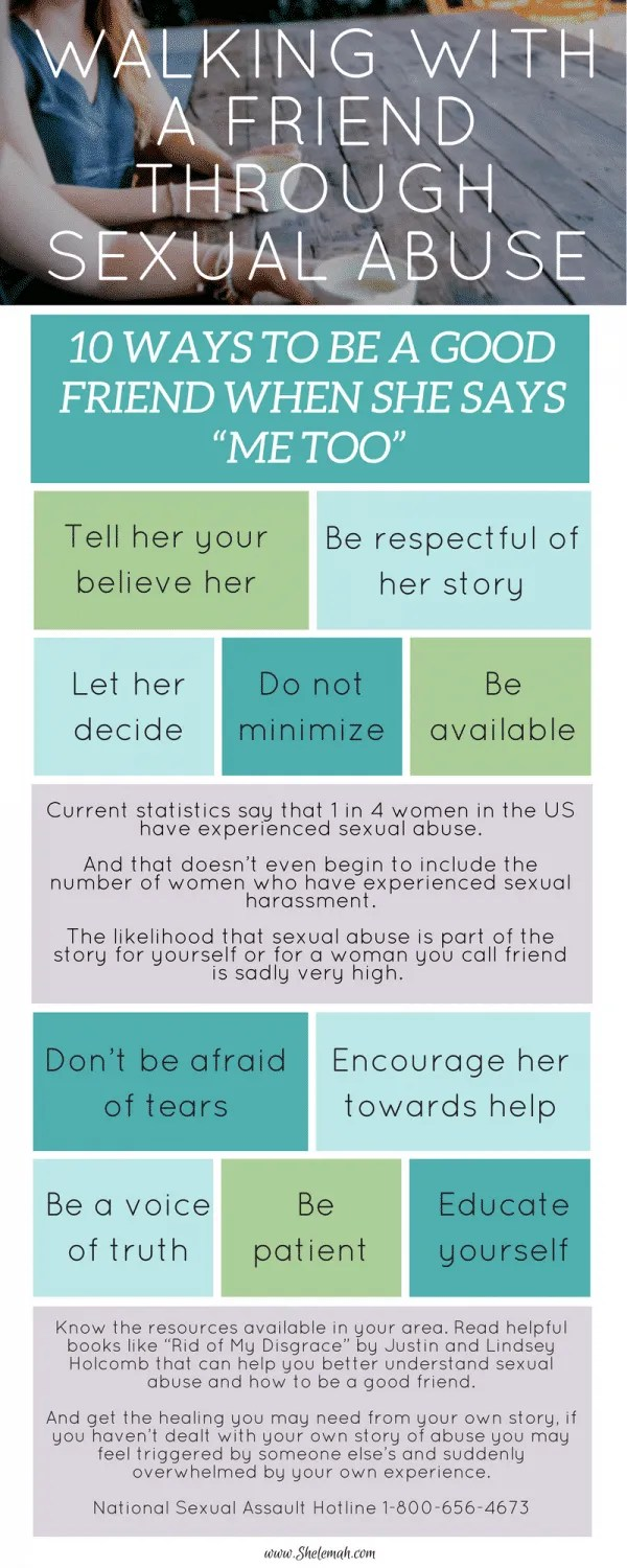 #metoo is raising awareness of the epidemic of sexual abuse. But awareness alone doesn't heal. Learn how you can be a good friend when she says me too.