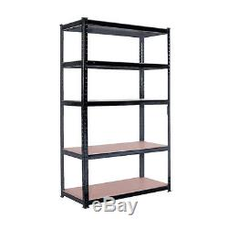 rayonnage metallique robuste a 5 niveaux etageres en metal unite de rangement garage home black
