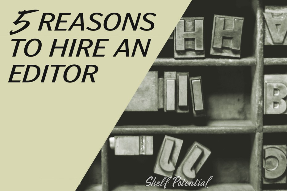 """letters in a typesetter's drawer with text: """"5 reasons to hire an editor"""""""