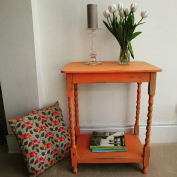Orange and Turquoise Barley Twist Table, £70