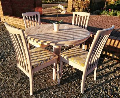 (SOLD) Grey and Mustard Yellow Dining Set
