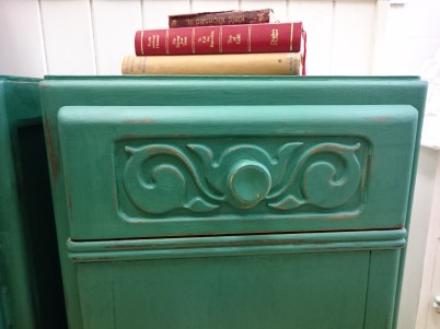 Pair of Dark Green Vintage Bedside Cabinets, £109
