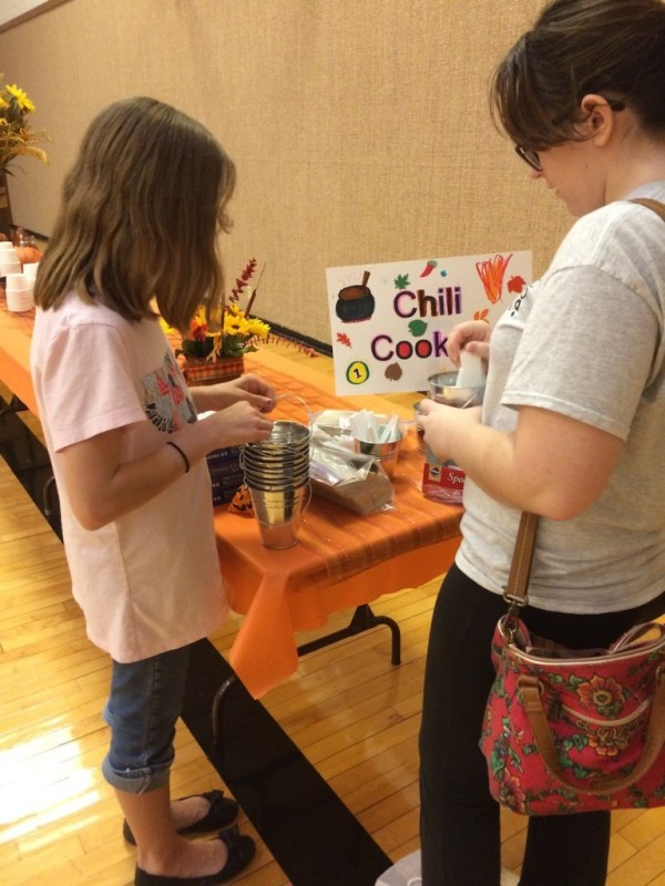 Young Women decorate for the ward Fall Festival
