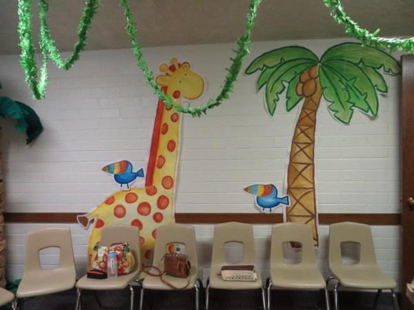 Giraffe and Palm tree