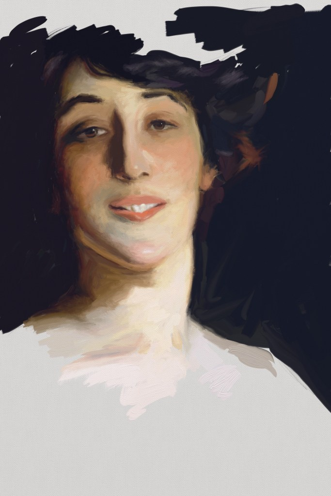"Digital detail study of John Singer Sargent's ""Ena and Betty Daughters of Wortheimer"""