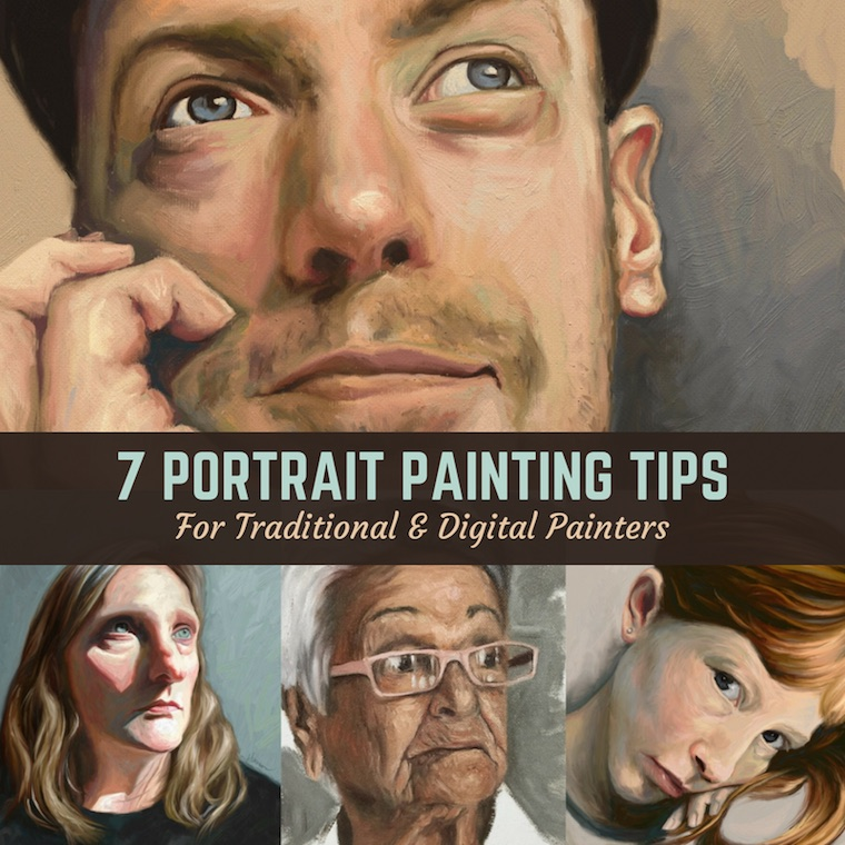 7 Portrait Painting Tips From The #30faces30days Challenge title slide
