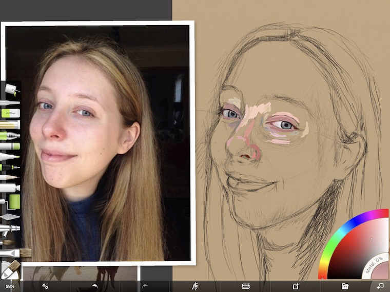 Paint on the iPad step-by-step portrait in ArtRage painting step 2