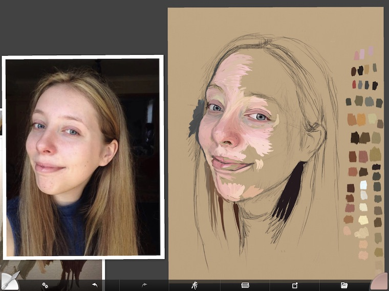Paint on the iPad step-by-step portrait in ArtRage painting step 3