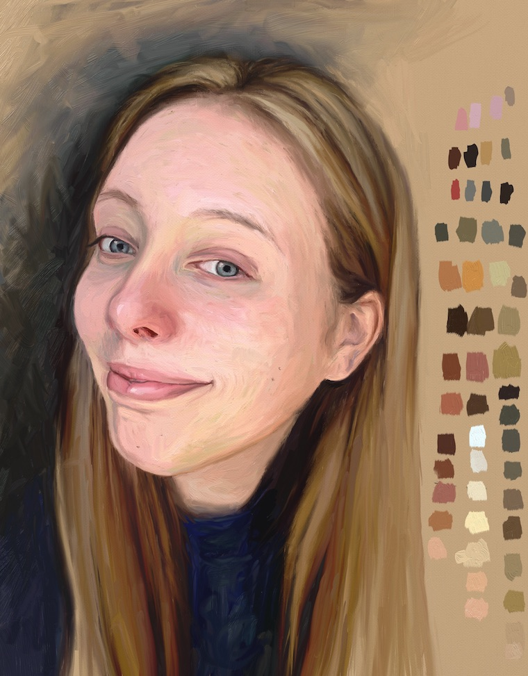Paint on the iPad step-by-step portrait in ArtRage final painting